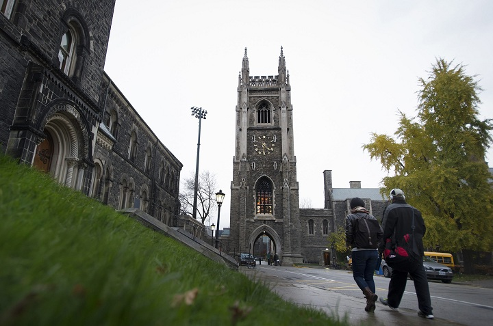 The Soldier's Tower stands over the University of Toronto campus in Toronto on Thursday, November 6, 2014.