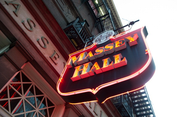 Exterior photography of Massey Hall on June 22, 2014 in Toronto, Canada.