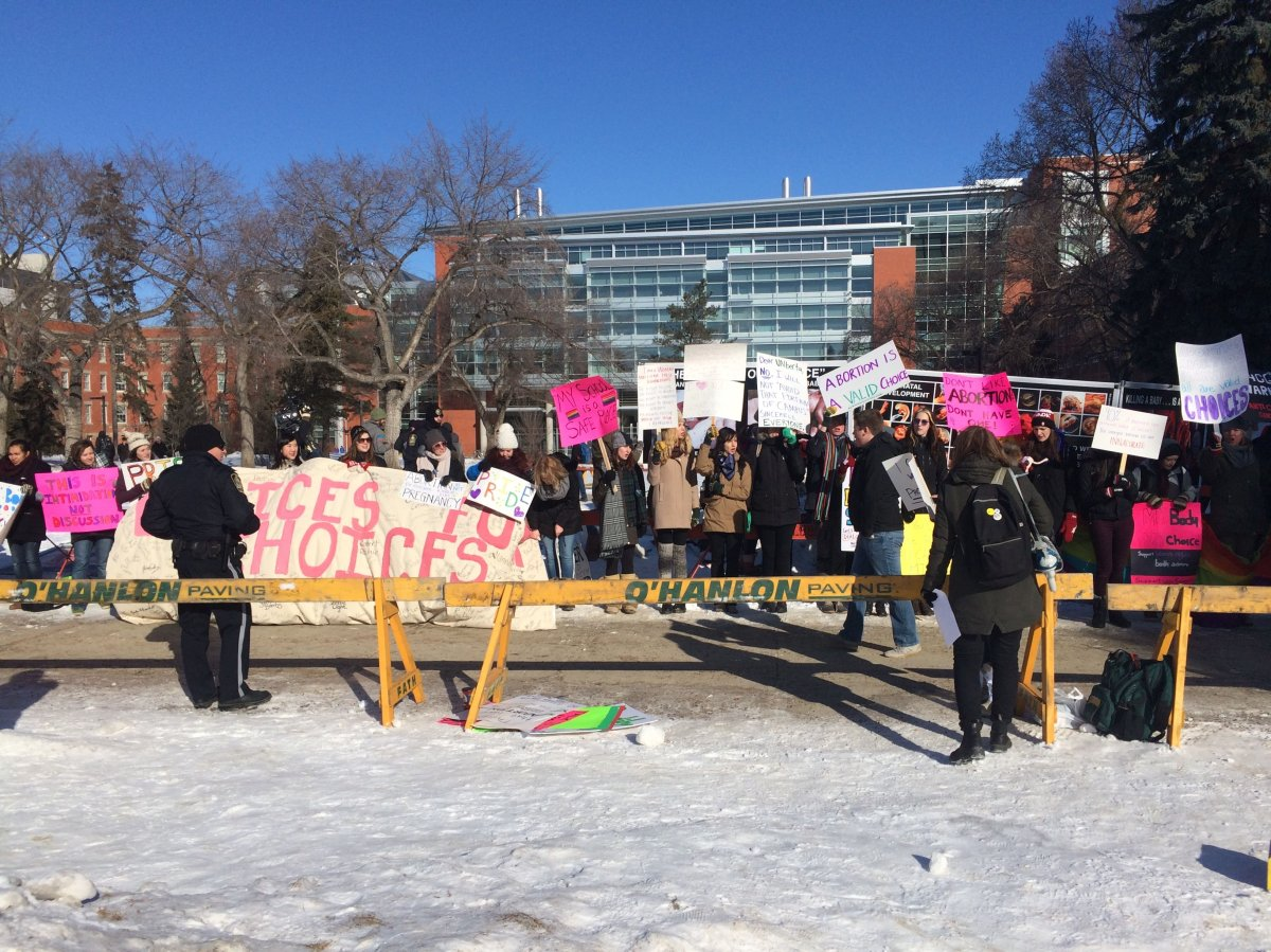 A group supporting pro-choice holds a demonstration at the University of Alberta, Monday, Mar., 3, 2015.