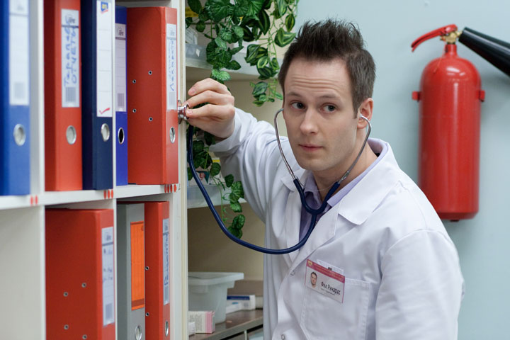 Odin Biron, pictured in a scene from Russian TV series 'Interns.'.