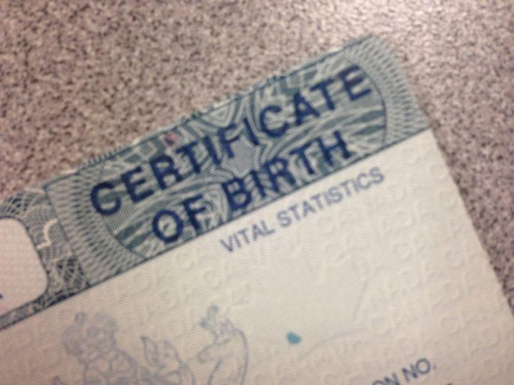An Alberta birth certificate.