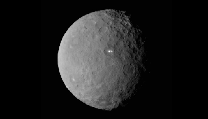 This image was taken by NASA's Dawn spacecraft of dwarf planet Ceres on Feb. 19 from a distance of nearly 46,000 kilometers.