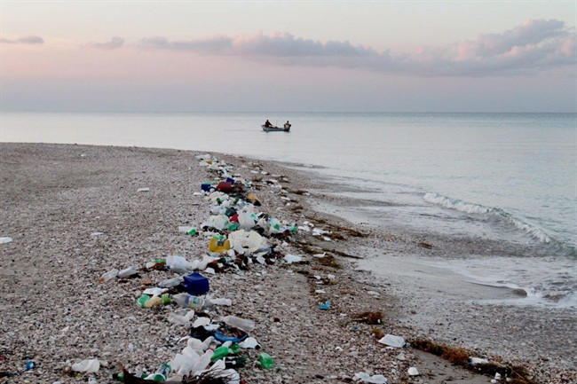 Marine debris and plastic pollution are shown along the coastline of Haiti in a handout photo.