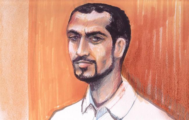 Omar Khadr appears in an Edmonton courtroom, on Sept.23, 2013 in an artist's sketch.