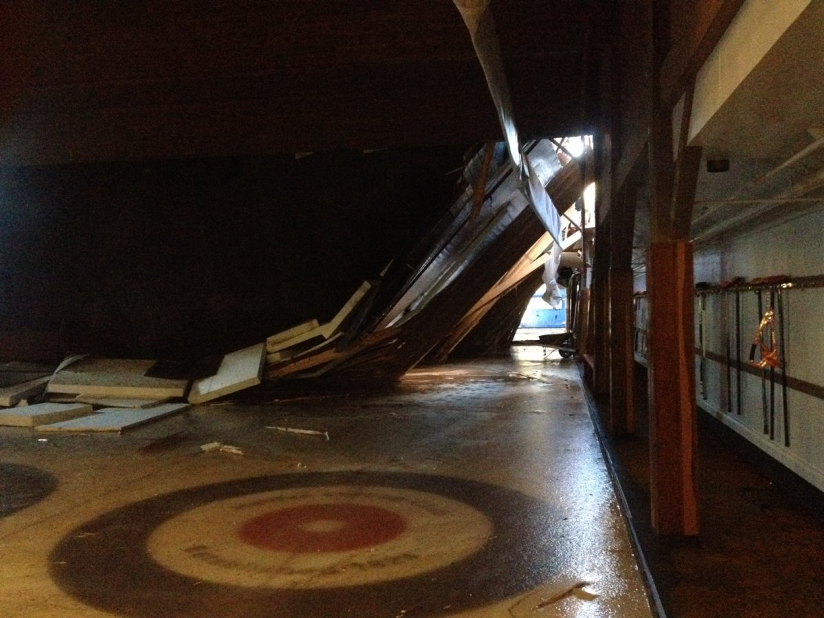 A view of the damage inside the Halifax Curling Club after roof collapsed due to heavy snow fall.