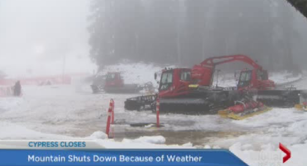 Cypress Mountain has closed due to a lack of snow.