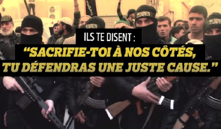 """A French government video attempts to counter ISIS recruitment messages. A caption in the video reads, """"They say: 'Come sacrifice yourself on our side and you'll be defending a just cause.'"""" The following message reads, """"In reality: You'll discover hell on earth and die alone, far from home."""" ."""