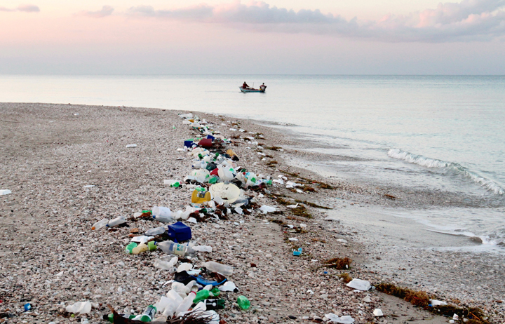 A shore in Haiti. Plastics are making their way from our coasts into our oceans creating millions of tons of plastic pollution.