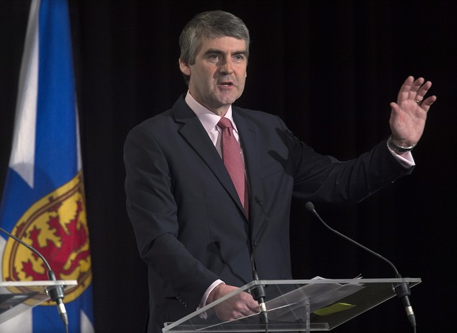 Nova Scotia Premier Stephen McNeil has long promised program and spending cuts to bring the province's books in line. He reiterated that promise at a business lunch in Halifax on Feb. 11, 2015 .