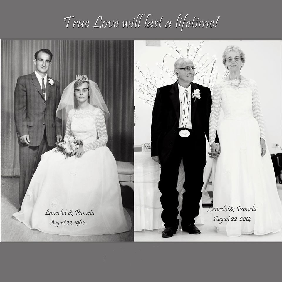 Lancelot and Pamela Mitchell on their wedding day, and on their 50th anniversary.
