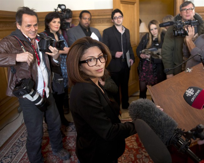 Ensaf Haidar, wife of blogger Raif Badawi, speaks to the media at a news conference in Montreal on Monday, February 23, 2015.
