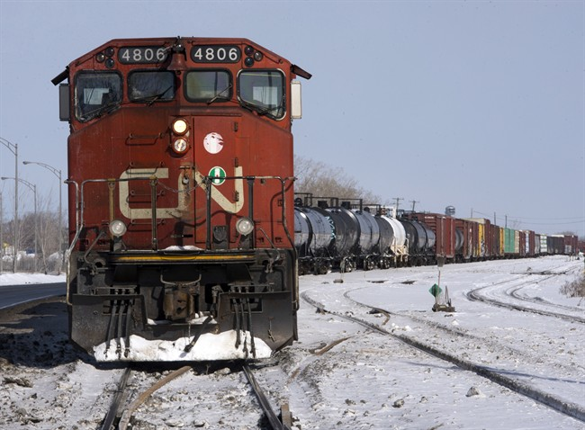 A Canadian National locomotive is seen Monday, February 23, 2015 in Montreal.