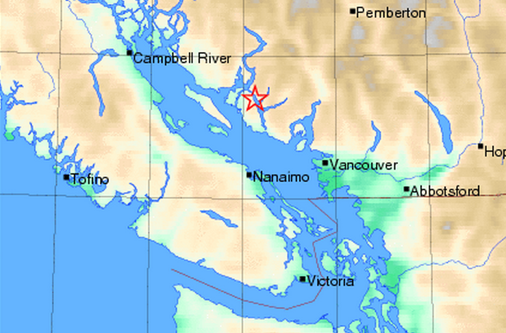 A screenshot from Earthquakes Canada, which is reporting a 3.6 magnitude earthquake striking 26 kilometres northwest of Sechelt on February 14, 2015.