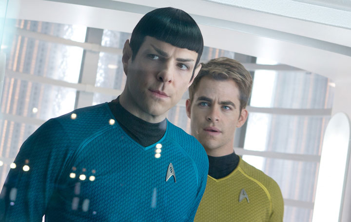 Zachary Quinto and Chris Pine in a scene from 'Star Trek Into Darkness.'.