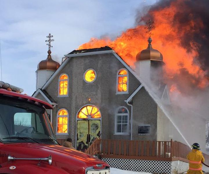 Fire broke out at the Ukrainian Orthodox Church of Sts. Peter & Paul in Thorhild just before noon Saturday, Feb. 28, 2015.