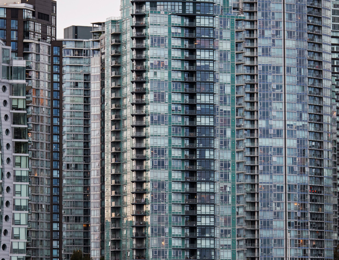 High-rise residential towers along the north side of False Creek, Vancouver, B.C.