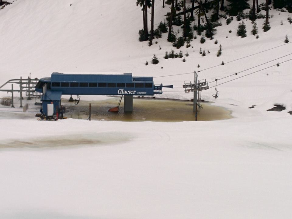 A photo taken of the Glacier Express lift today, halfway up Blackcomb Mountain in Whistler.