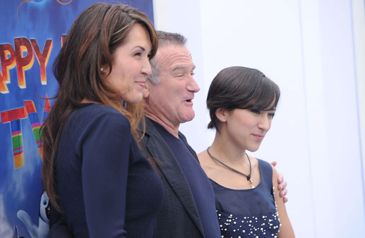 Robin Williams with his wife Susan (left) and daughter Zelda (right), pictured in 2011.