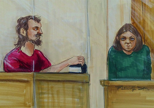 John Nuttall, left, holding a Qur'an, and Amanda Korody appear in provincial court in Surrey, B.C., on Tuesday, July 9, 2013 in an artist's sketch.