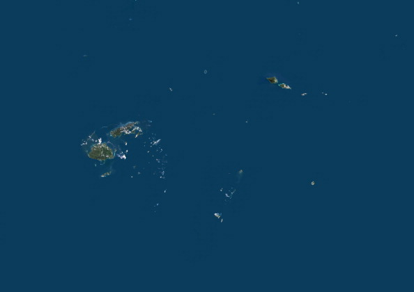 Satellite view of Fiji, Samoa, Tonga, Wallis and Futuna Islands.