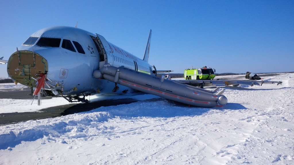 An Air Canada flight that ran off the runway at Halifax Stanfield International Airport early on Sunday.