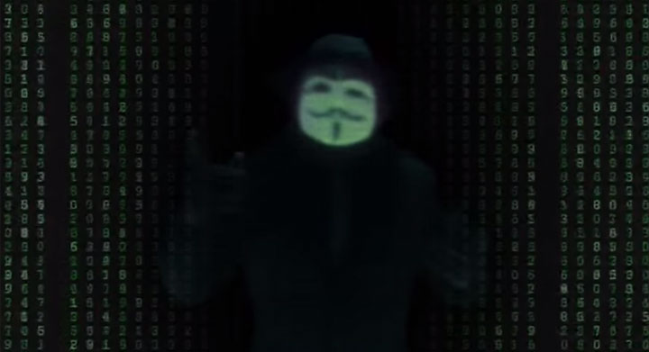 An image from a video purportedly posted by hacker group Anonymous.