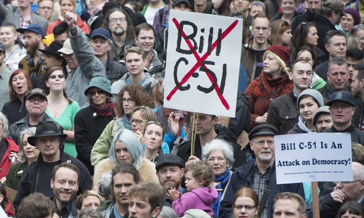 Demonstrators attend a protest on a national day of action against Bill C-51 outside the Vancouver Art Gallery in downtown Vancouver, Saturday, March 14, 2015. The new laws are set to face a Charter challenge.