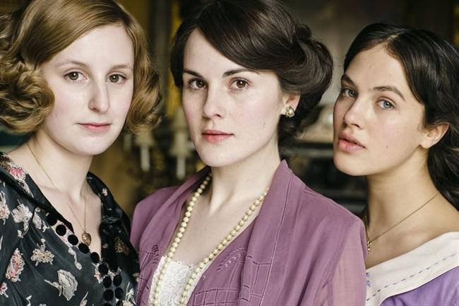 "Laura Carmichael as Lady Edith Crawley, Michelle Dockery as Lady Mary Crawley, Jessica Brown-Findlay as Lady Sybil Crawley, in season 6 of the television series, ""Downton Abbey.""."