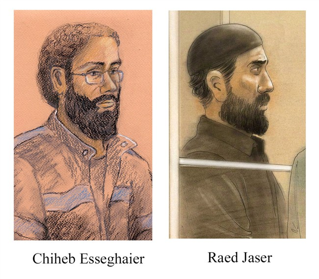 Chiheb Esseghaier and Raed Jaser, accused of plotting to derail a passenger train travelling between Canada and the U.S., are shown in sketches. Jaser is facing four terror-related charges while Esseghaier is facing five. Not guilty pleas have been entered for both men.