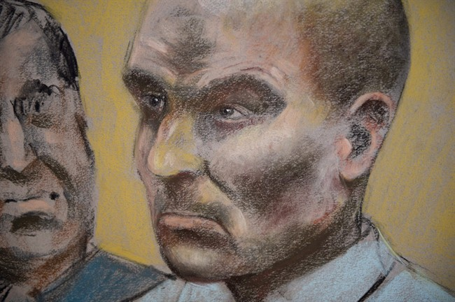 Bertrand Charest, who faces a total of 56 charges involving 11 young females, is seen in a court drawing during a bail hearing on March 16, 2015 in St-Jerome, Que. Charest has been denied bail.