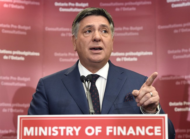 Ontario Finance Minister Charles Sousa speaks to the media prior to a pre-budget consultation session in Toronto on Friday, January 23, 2015.