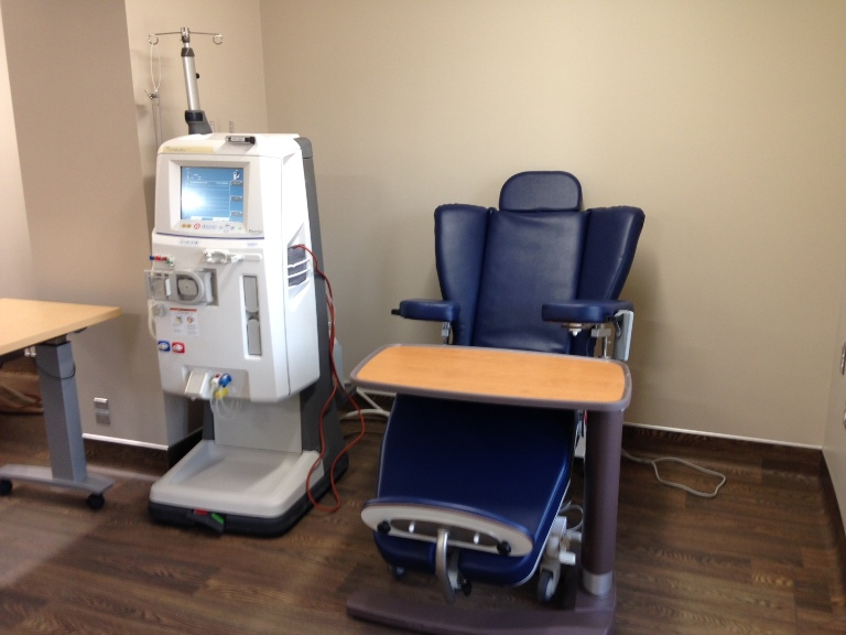 One of the dialysis stations inside the new dialysis unit in the Infirmary.