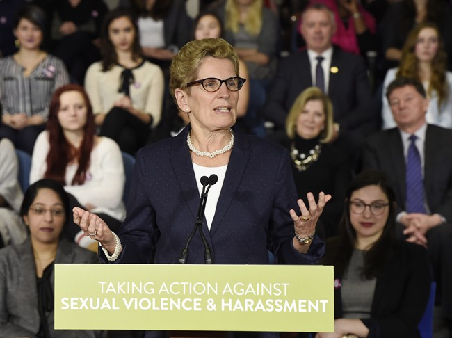 Ontario Premier Kathleen Wynne announces Ontario's Sexual Violence and Harassment Action Plan at a press conference in Toronto on Friday, March 6, 2015.