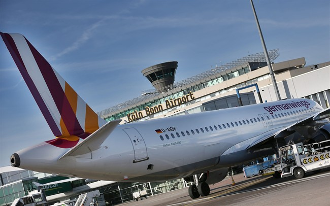 The Feb. 24, 2014 file photo shows an Airbus A320 of the airline Germanwings standing in front of the terminal at the Koeln-Bonn airport in Cologne, Germany.