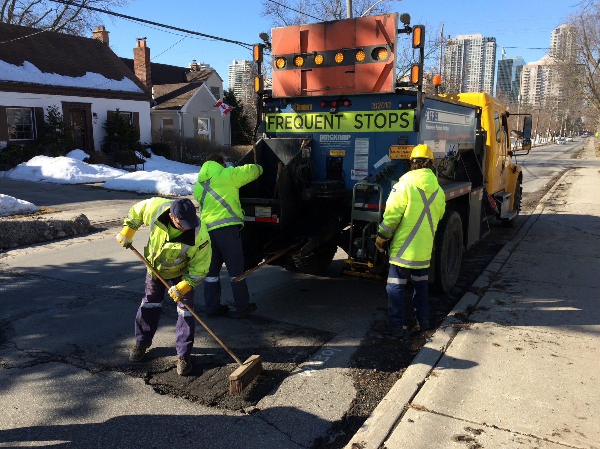 City of Toronto road operations crew fill potholes during an annual blitz in 2015.