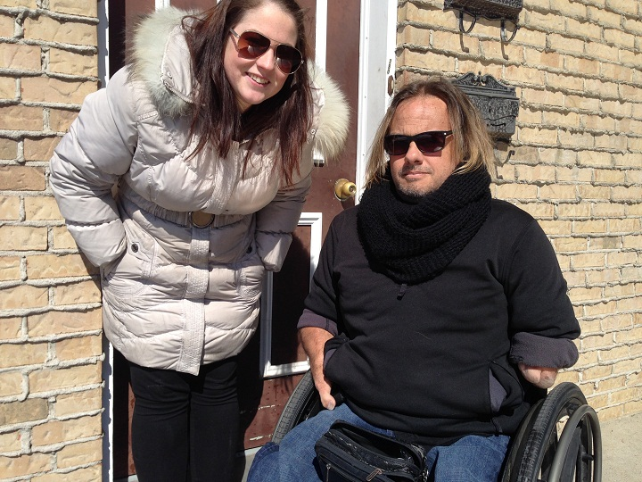 For now Montrealer Richard Lemieux is relying on volunteers in the community like Jessie Charlebois (pictured with him here on March 24, 2015), to get him to the hospital for his dialysis treatment.