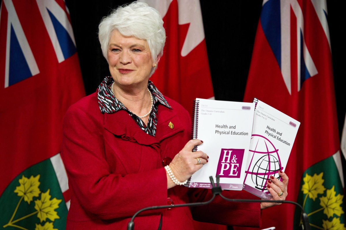 Ontario Education Minister Liz Sandals presents the revised Health and Physical Education curriculum at a press conference at Queen's Park in Toronto, Monday, February 23, 2015.