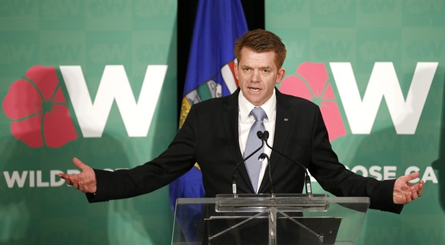 Newly elected Wildrose Leader Brian Jean speaks after winning the party leadership vote in Calgary, Alta., Sat., March 28, 2015.