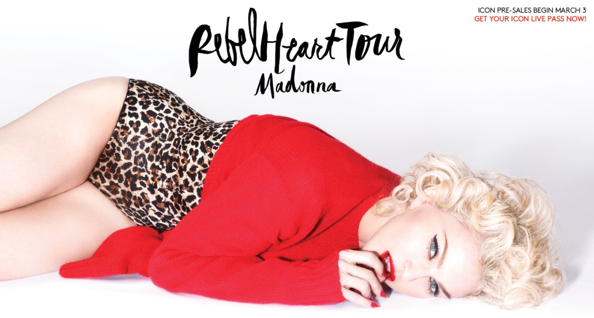 Promotional photo for Madonna's upcoming 35-city 'Rebel Heart' Tour.