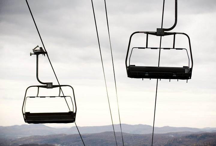 Chair lifts hang over the Laurentian mountains at Mont Tremblant, Que.
