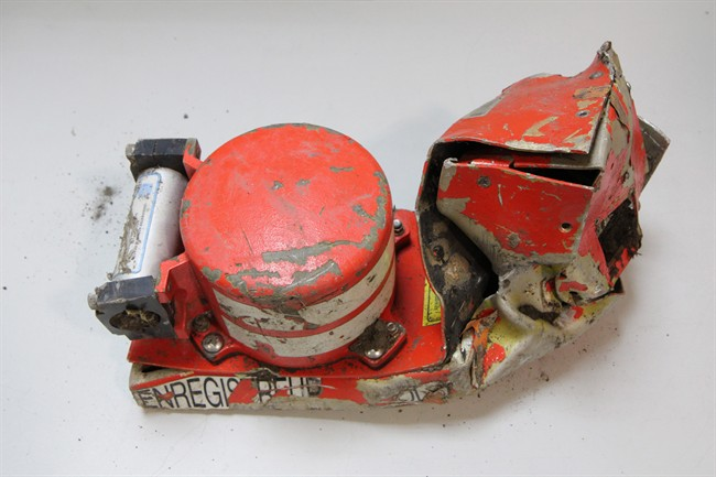 This photo provided in Paris, Wednesday, March 25, 2015 by the BEA, the French Air Accident Investigation Agency, shows the voice data recorder of the Germanwings jetliner that crashed Tuesday in the French Alps.