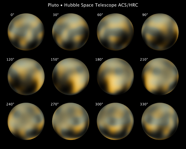The Hubble Space Telescope took several images of Pluto. It appears that there may be several features on the icy world.