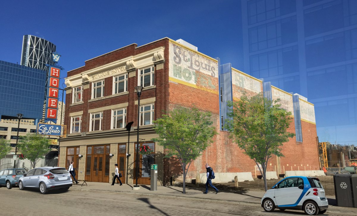 Proposed design for the south-facing exterior facade of Calgary's St. Louis Hotel.