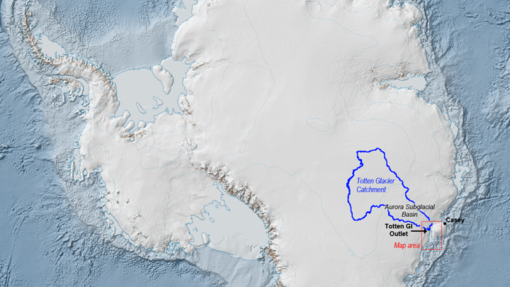 A rapidly melting glacier in Antarctica could cause a rise in global sea-levels.