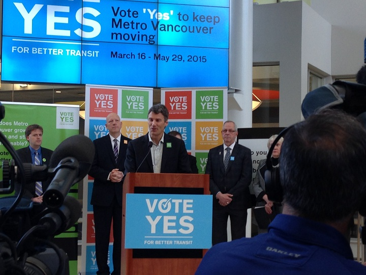 Vancouver mayor Gregor Robertson at the vote yes campaign in full swing at Douglas College.