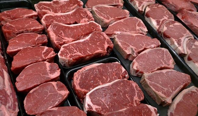 Steaks and other beef products are displayed for sale at a grocery store in this file photo.