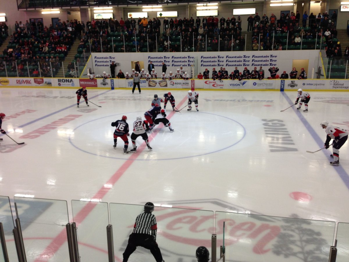 The Brooks Bandits face off against the Camrose Kodiaks in Camrose, April 7, 2015.
