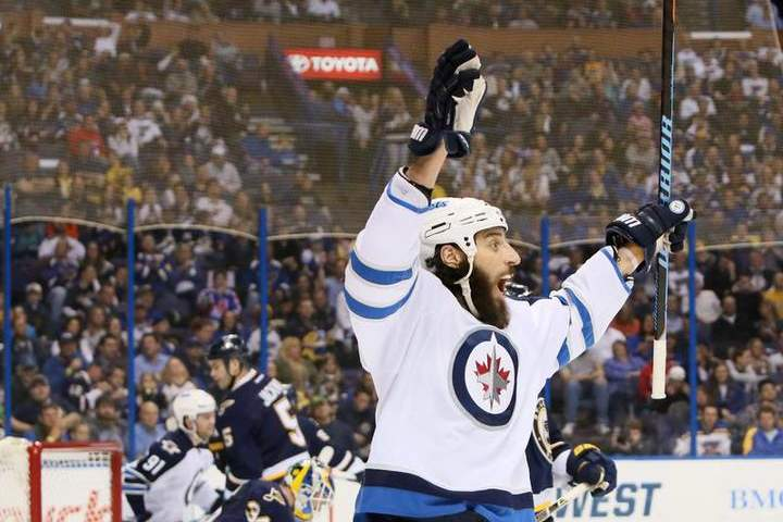 The Winnipeg Jets' Chris Thorburn reacts after scoring in second-period action against the St. Louis Blues on Tuesday.