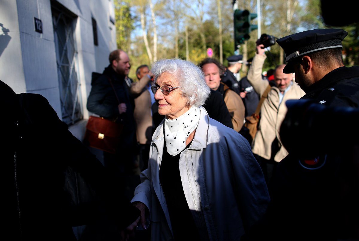 Auschwitz survivor Eva Pusztai-Fahidi arrives ahead to a trial of former Nazi death camp officer Oskar Groening on April 21, 2015 at a court in Lueneburg,  Germany.
