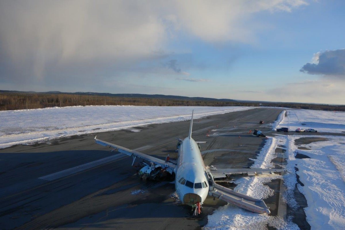 An aerial photo provided by the RCMP shows the crash site of Air Canada flight 624 at Halifax Stanfield International Airport.